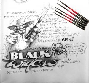 Mack Brush, Black Widow Scroller brush #000