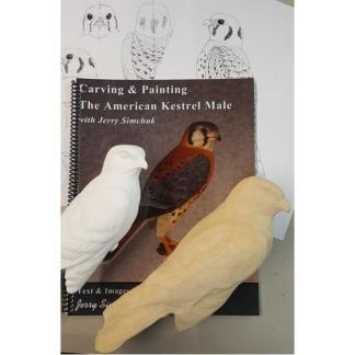 NEW Kit- Exclusive AMERICAN KESTREL  Jerry Simchuk Tupelo Rough-Out WOOD CARVING KIT