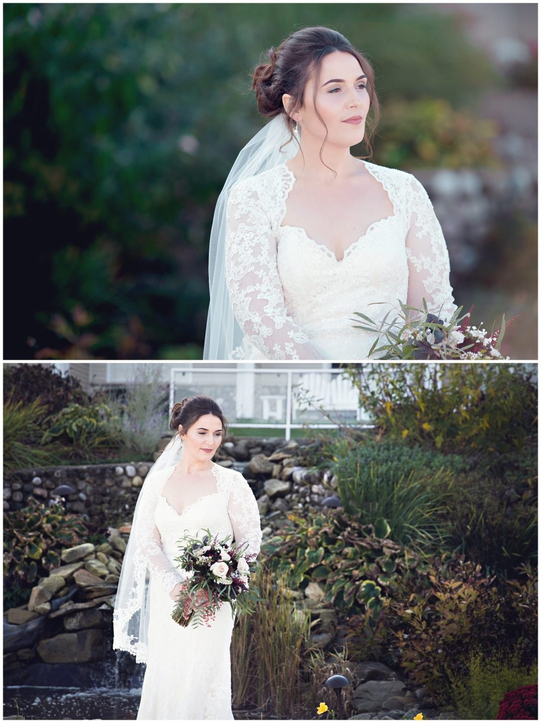 Bride in stunning long sleeve lace dress with fall colors at Bay Pointe Inn on Gun Lake photographed by Melissa Gregersen Photography