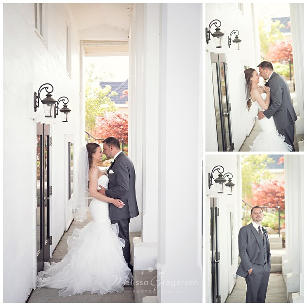 Bride and Groom at the boathouse at Bay Pointe Inn
