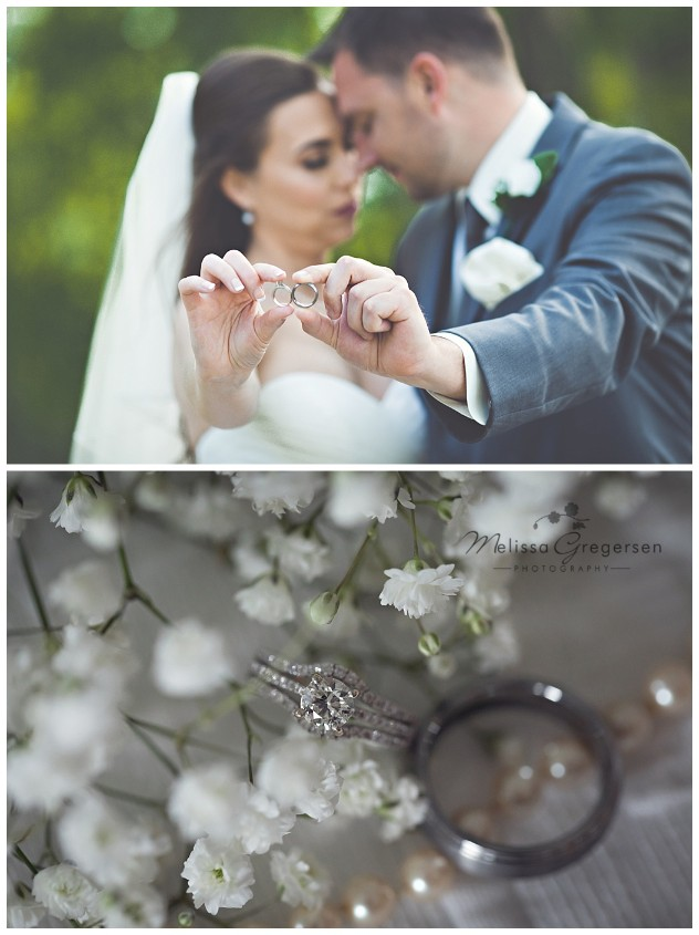 Ring details with the bride and groom