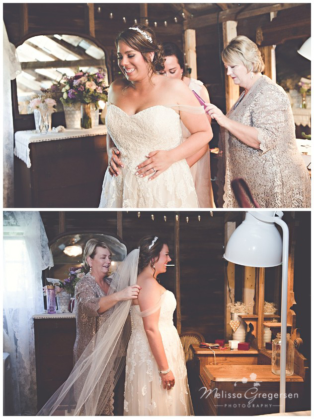 Special Mother daughter moment as they get ready at the Vintage Rose Barn