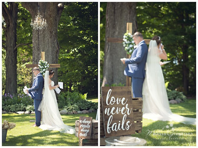 Bride and Groom Sharing hand written letters before they see each other for the first time
