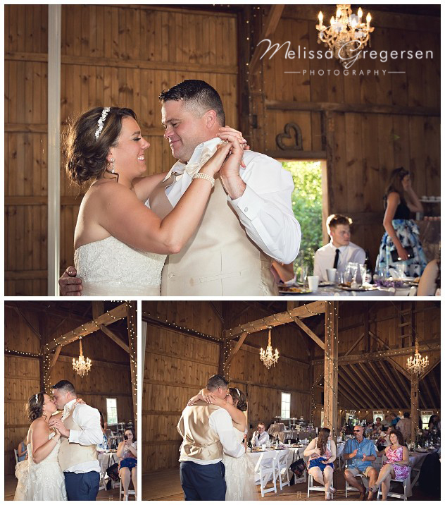 First dance under the chandeliers in the Vintage Rose barn