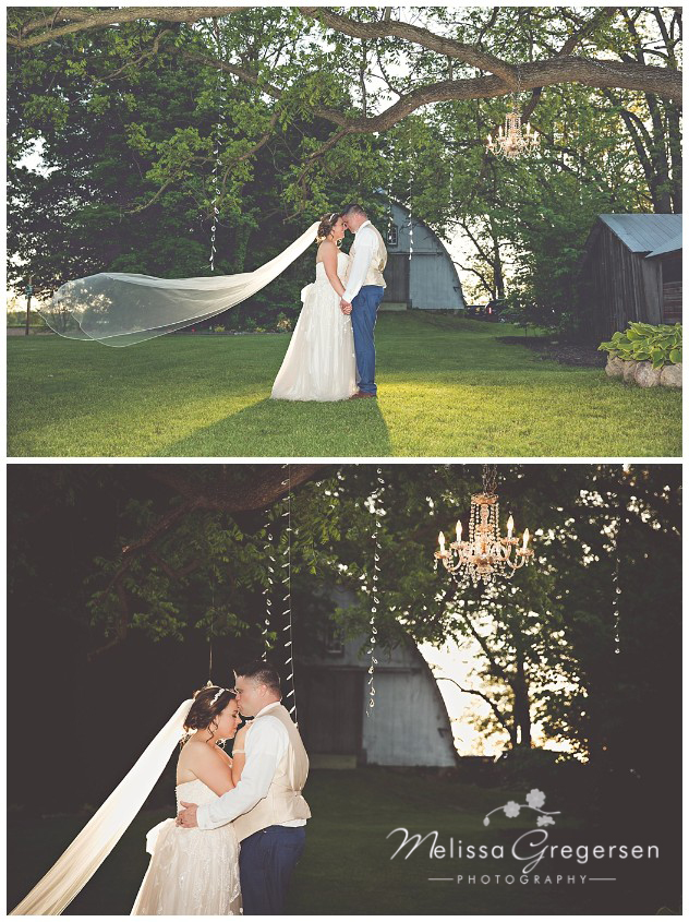Bride and groom photographed with Sunset light and chandeliers