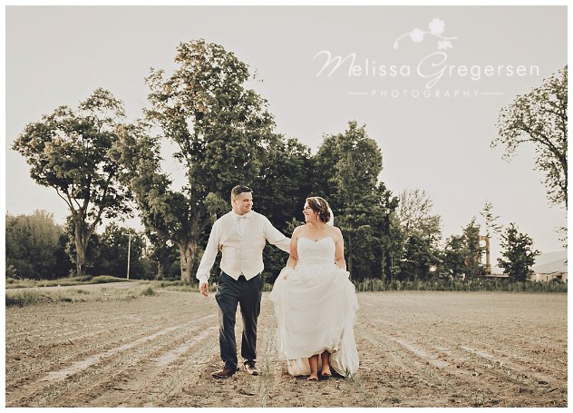 Bride and groom walking through a cornfield with bare feet at the vintage rose barn