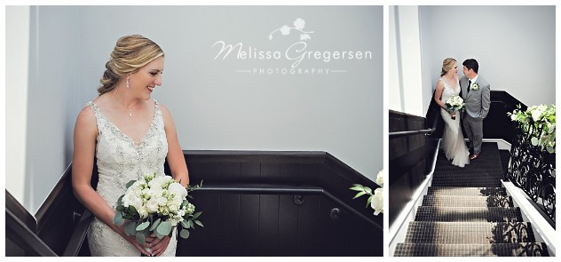 Stunning staircase shots of the bride and groom at the venue