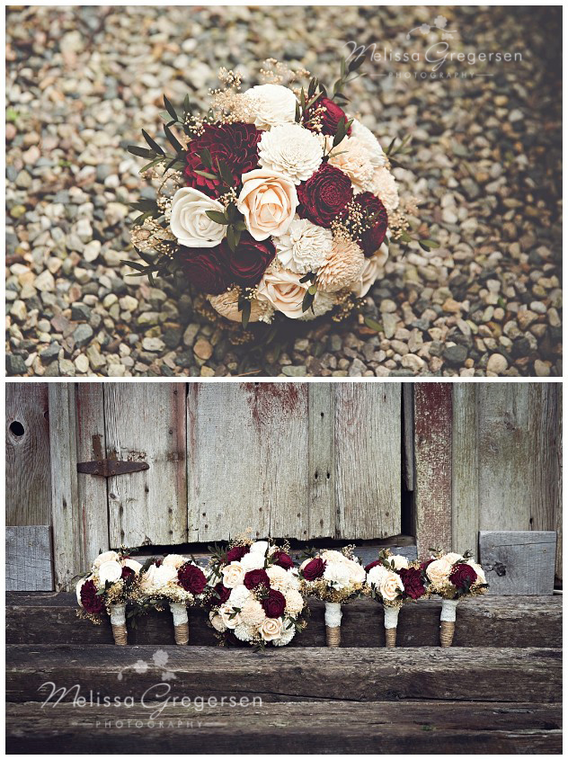 The burgundy and white bouquets were the perfect Etsy purchase!