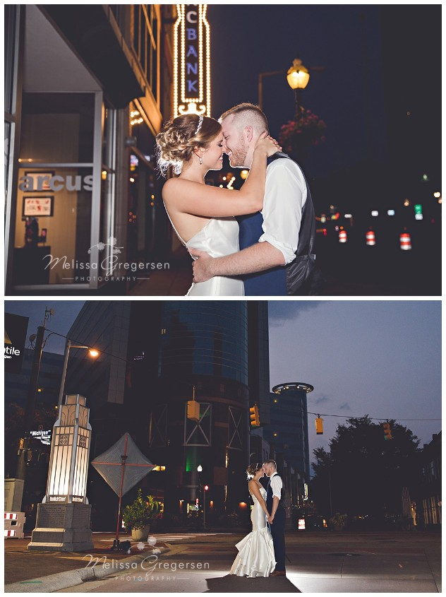 The light of downtown in the evening boosts these evening shots for the couple!