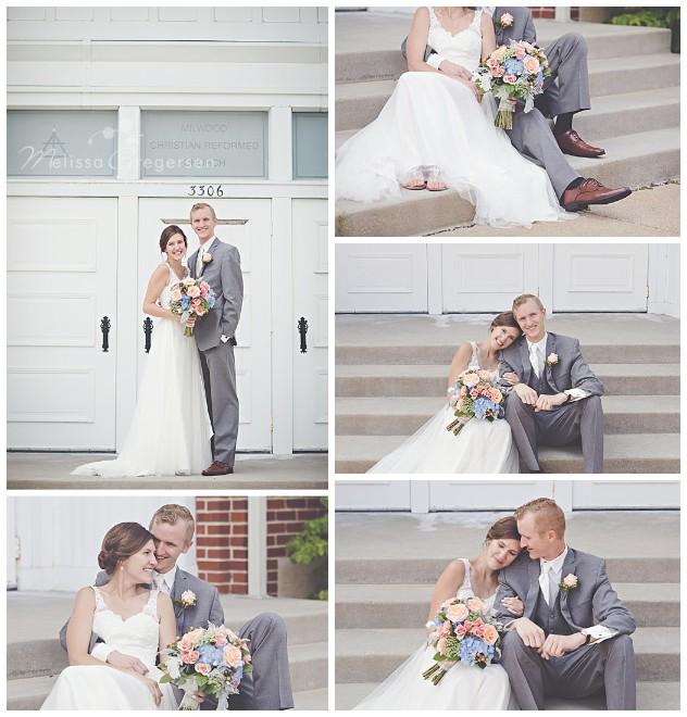 Bride and groom getting cozy on the front steps of the church