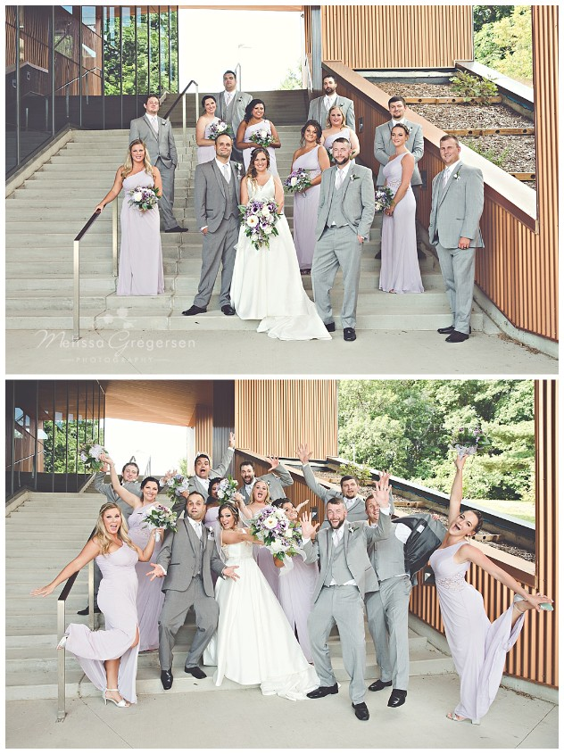Beautiful bridal party enjoying the day at the Fetzer Center