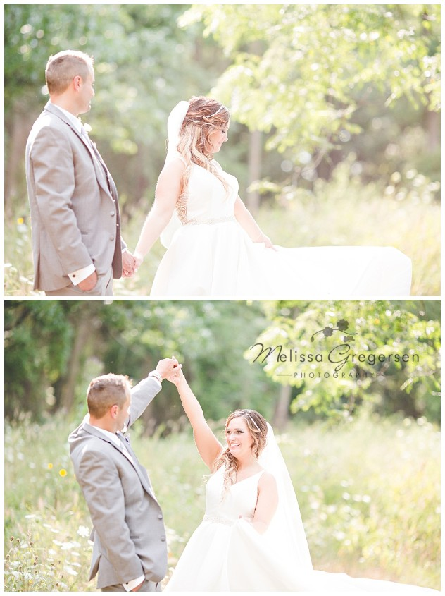 Bride and groom dancing outdoors in beautiful natural light