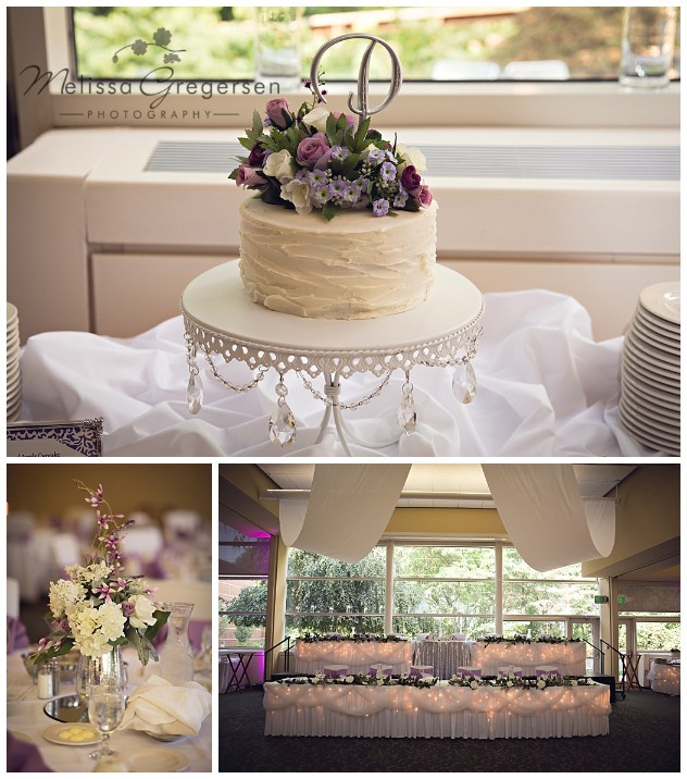 The cake, flower center pieces and the head table were beautifully lit with lights and purple flowers.