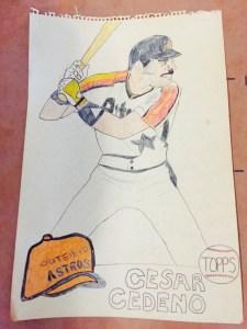 Author's Rendition of Cesar Cedeno baseball card circa 1981