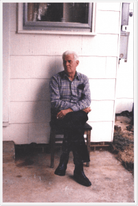 Miles Gregory. Sitting on his back patio. Early '90s.
