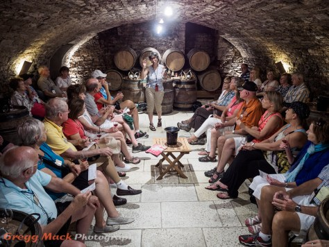 Visiting a wine cellar in Beaune.