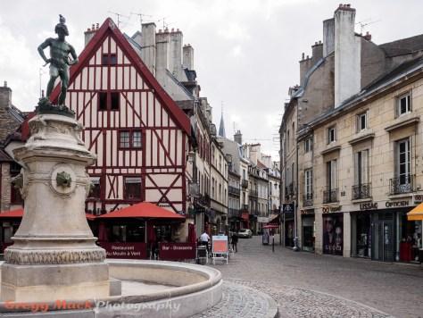 Walking tour in historic part of downtown Dijon.