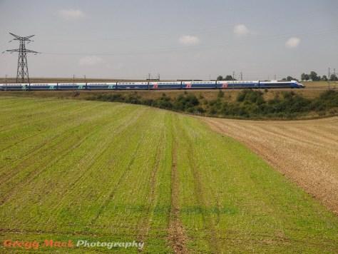Riding the Train à Grande Vitesse (TGV) from Dijon to Paris.