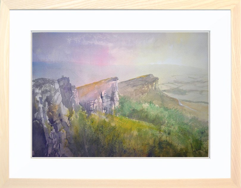 Framed Painting Last Light On The Roaches Derbyshire