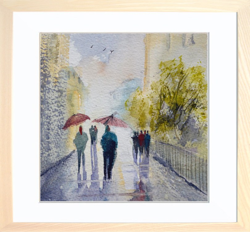 Framed Painting Rainy Day In The City II