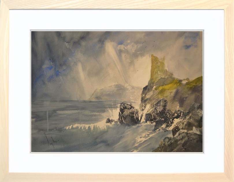 Framed Painting Stormy Cove