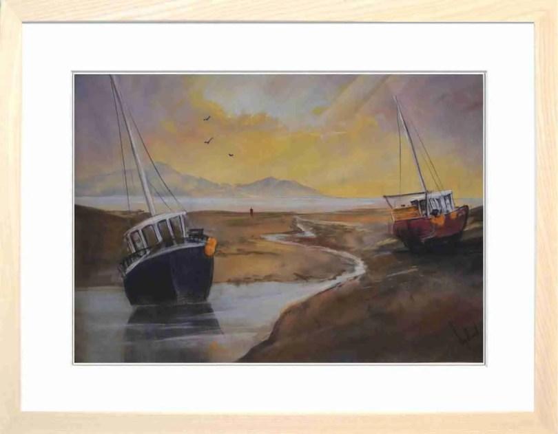 Framed Painting Sunset Over The Estuary