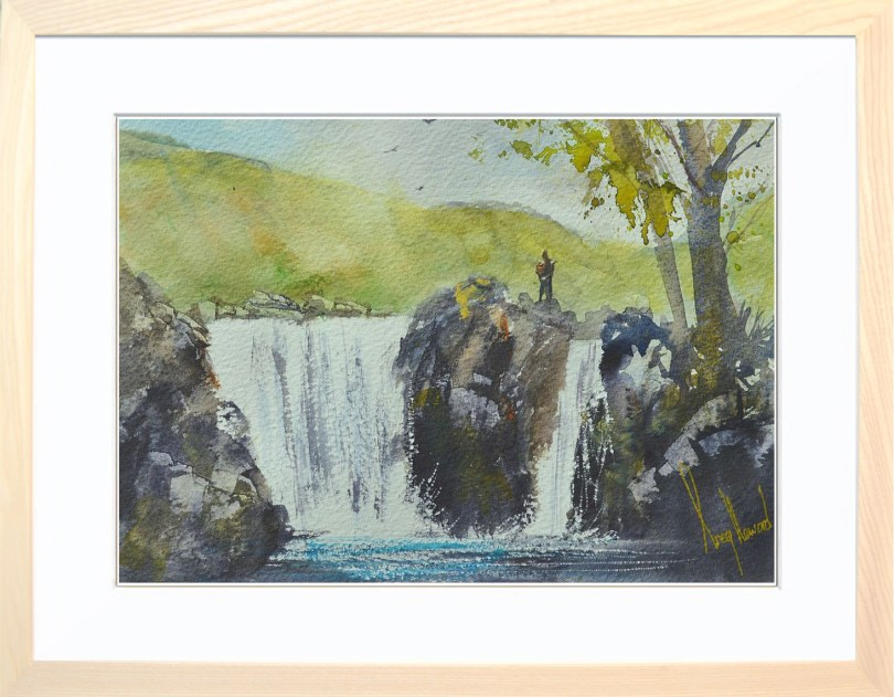Framed Painting Waterfall In Langstrath Valley