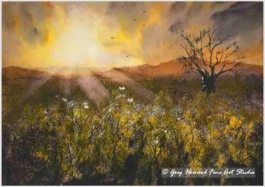 Sundown Over Rapeseed Field