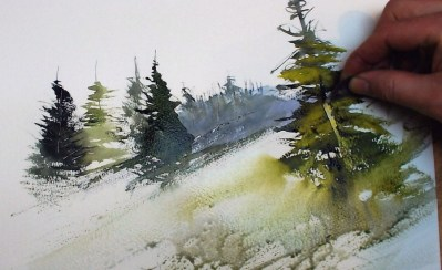 Tuition Learn How To Paint Fir Trees In Watercolour