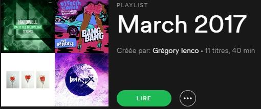 Playlist - Mars 2017 - Spotify