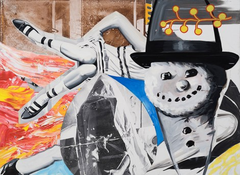 Smoke Kools, 2014-2016 oil and acrylic with silkscreen and digital transfer prints on canvas and linen 67 x 92 inches