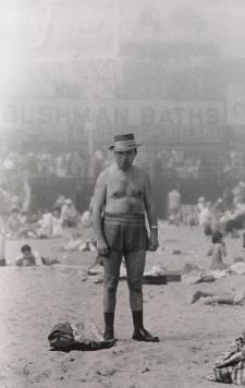 Man in hat, trunks, socks and shoes, Coney Island, N.Y. 1960