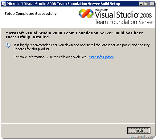 TFS Install Wizard Completion