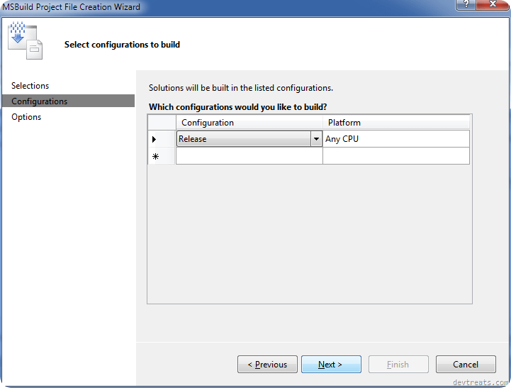 MSBuild Project Configurations