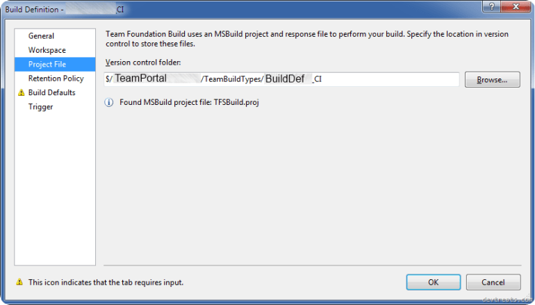 Build Definition Version Control Folder
