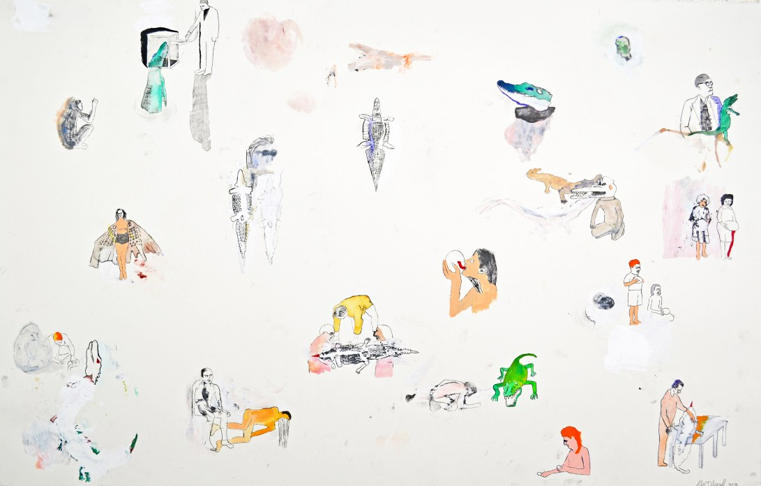 """Water Color, Gouache, Colored Pencil on Paper. 48"""" x 26"""" 2012. SOLD"""