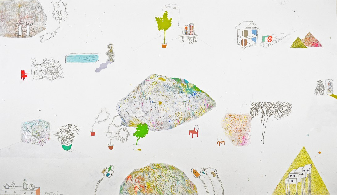 "Acrylic, Pencil, Pastel on Paper. 50"" x 29"" 2013."