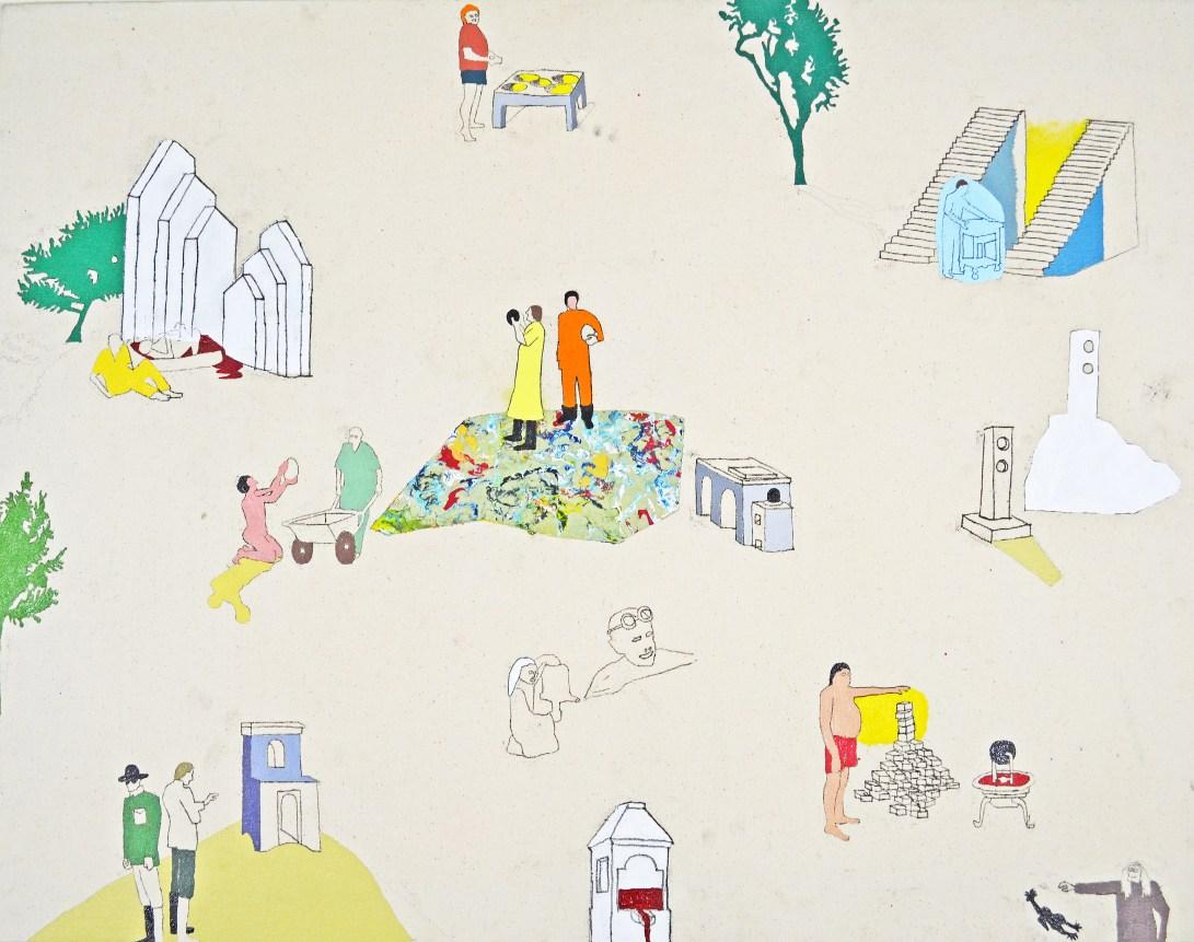 "Oil, Acrylic, Pencil, Oil Pastel on Canvas. 34"" x 26"" 2012"