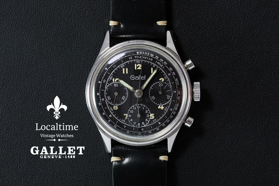1970's Gallet Swiss Vintage Black Dial Steel Chronograph Watch – Valjoux Cal. 72