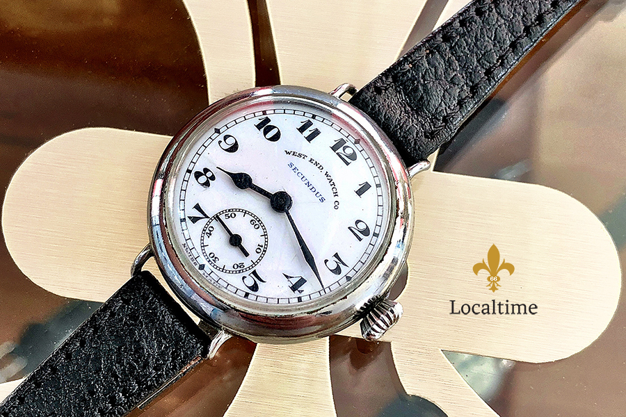 1930's – 1940's WEST END 'Secundus' Vintage Porcelain Dial Watch – Sub-Seconds At 6h