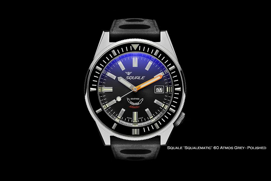 BNIB SQUALE (Swiss) 'Squalematic' Grey 60 Atmos Diving Watch – ETA Cal. 2824