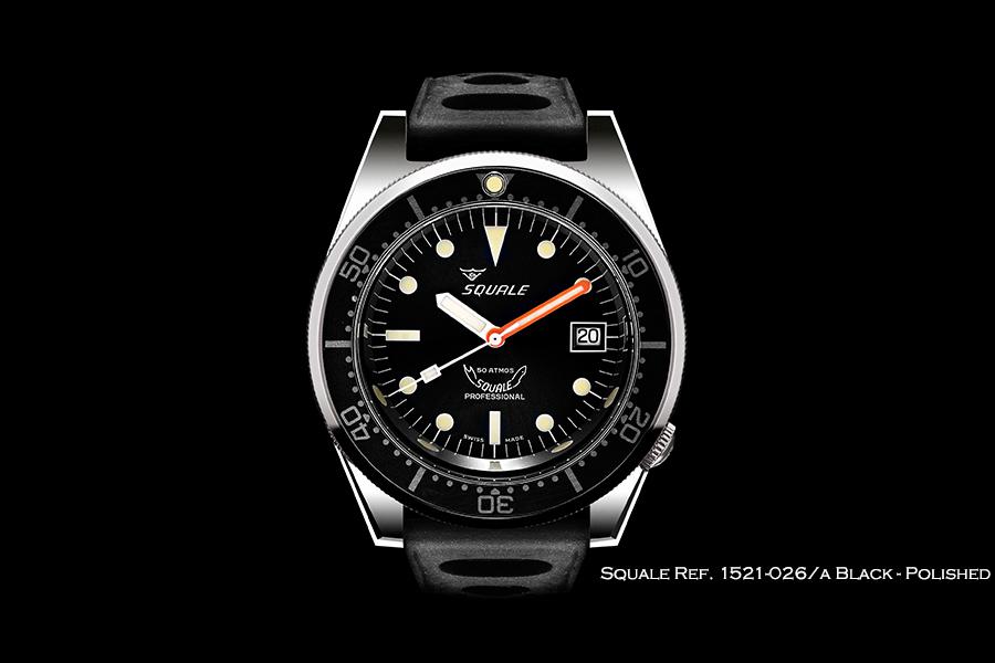 BNIB SQUALE (Swiss) Ref. 1521-026/A Black 50ATM Diving Watch – ETA Cal. 2824-2 Polished