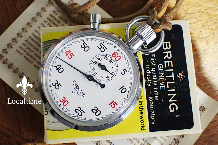 All Original NOS Vintage Wakmann 1/5 Stopwatch Made By Breitling Box & Papers