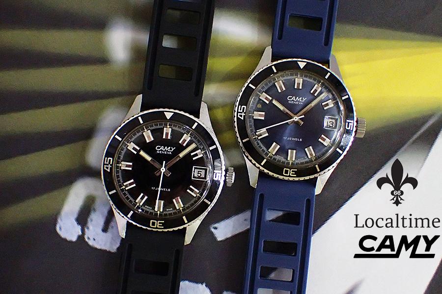2 x 1960's CAMY (Swiss) Ref. 7311 Blue & Black Skin Diver Field Watch – 17j FHF Cal. 96-4