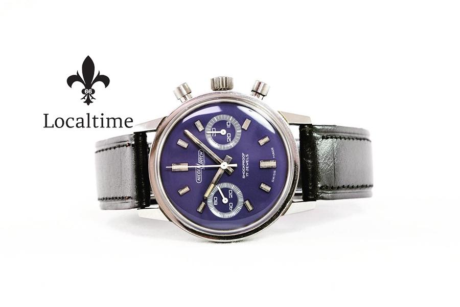 Wonderful NOS 1960's NICOLET WATCH (Swiss) Chronograph Purple Stella Dial – Valjoux Cal. 7733