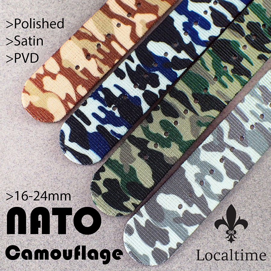 NATO Premium Camouflage Nylon G10 4-Ring Wrap-Around Straps In 4 Patters & 3 Metals, 16-24mm