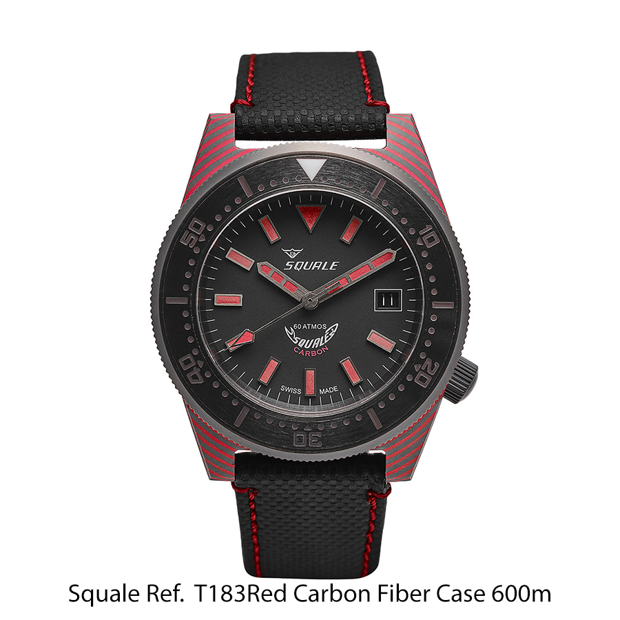 BNIB SQUALE (Swiss) Ref. T183 Red Carbon Case 60ATM Diving Watch – Sellita Cal. SW200