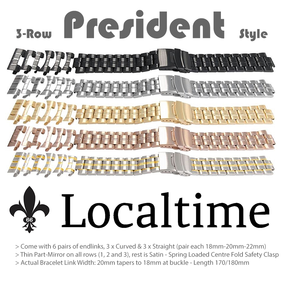 Premium 3-Row President Style Satin & Part-Mirror Watch Bracelets – 18-22mm Multi-End Links