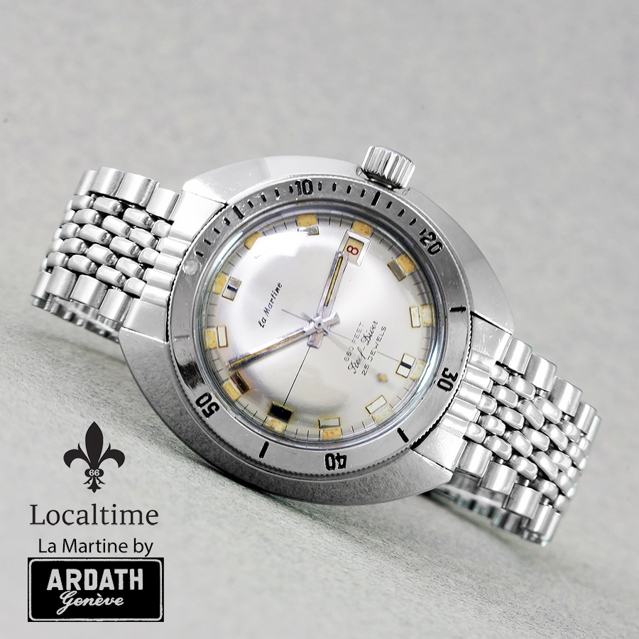 1960's LA MARTINE By Ardath Reef-Diver Submarine 666ft Diver Watch ETA Cal. 2452 With Date