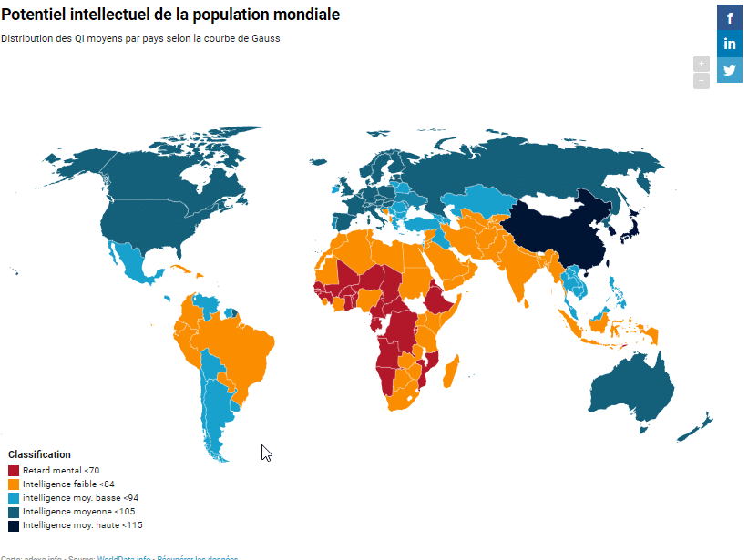 nouvelle carte des qi -Potentiel intellectuel de la population mondiale- quotient intellectuel - migrants diminution qi - immigration - grand remplacement